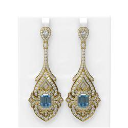 18.17 ctw Aquamarine & Diamond Earrings 18K Yellow Gold