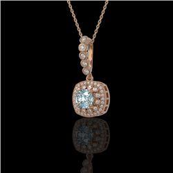 2.25 ctw Aquamarine & Diamond Victorian Necklace 14K Rose Gold