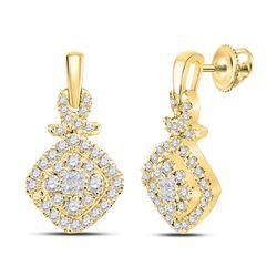 14kt Yellow Gold Princess Diamond Cushion Cluster Dangle Earrings 1/2 Cttw