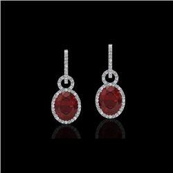 8 ctw Garnet & Micro Pave Halo VS/SI Diamond Earrings 14K White Gold