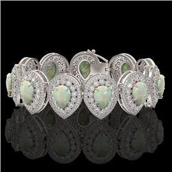 46.44 ctw Certified Opal & Diamond Victorian Bracelet 14K White Gold