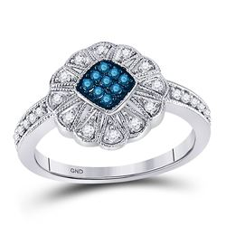 10kt White Gold Round Blue Color Enhanced Diamond Cluster Ring 1/4 Cttw