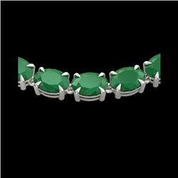 68 ctw Emerald Eternity Designer Necklace 14K White Gold