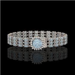 23.78 ctw Aquamarine & Diamond Bracelet 14K White Gold