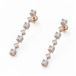 2.88 ctw Princess Cut Diamond Designer Earrings 18K Rose Gold