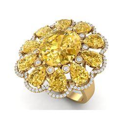 18.53 ctw Canary Citrine & VS Diamond Ring 18K Yellow Gold