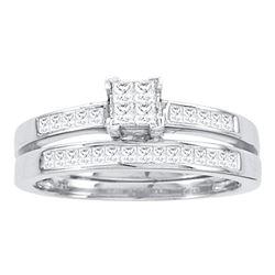 14kt White Gold Princess Diamond Bridal Wedding Engagement Ring Band Set 1/2 Cttw