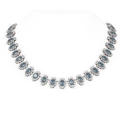 57.4 ctw Blue Topaz & Diamond Necklace 18K White Gold