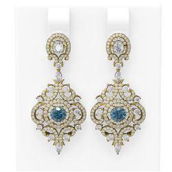 5.85 ctw Intense Blue Diamond Earrings 18K Yellow Gold