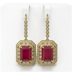 23.79 ctw Certified Ruby & Diamond Victorian Earrings 14K Yellow Gold