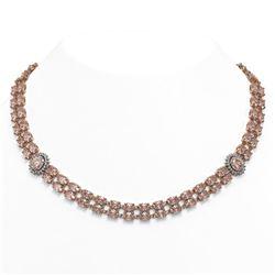 60.62 ctw Morganite & Diamond Necklace 14K Rose Gold