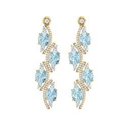 15.72 ctw Sky Topaz & VS Diamond Earrings 18K Yellow Gold