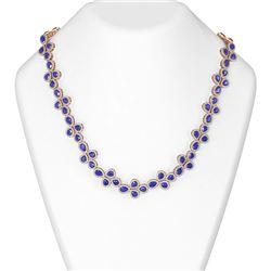 124.56 ctw Sapphire & Diamond Necklace 18K Rose Gold
