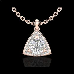1.50 ctw Micro Pave VS/SI Diamond Certified Necklace 14K Rose Gold