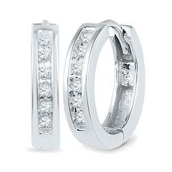 10kt White Gold Round Diamond Hoop Earrings 1/8 Cttw