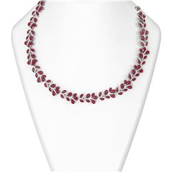121.83 ctw Ruby & Diamond Necklace 18K White Gold
