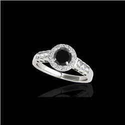 1.55 ctw Certified VS Black Diamond Solitaire Halo Ring 10K White Gold