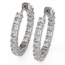 5.6 ctw Princess Cut Diamond Designer Earrings 18K White Gold