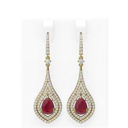 11.35 ctw Ruby & Diamond Earrings 18K Yellow Gold