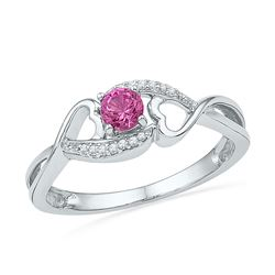Sterling Silver Round Lab-Created Pink Sapphire Solitaire Heart Ring 1/6 Cttw