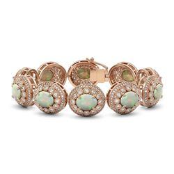 40.37 ctw Certified Opal & Diamond Victorian Bracelet 14K Rose Gold