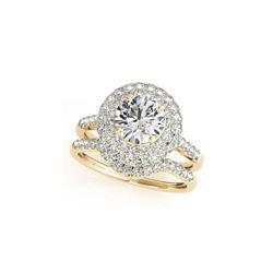 1.77 ctw Certified VS/SI Diamond 2pc Wedding Set Halo 14K Yellow Gold