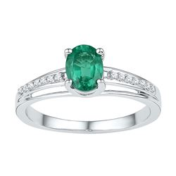 Sterling Silver Oval Lab-Created Emerald Solitaire Diamond Ring 1/2 Cttw