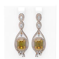 12.86 ctw Canary Citrine & Diamond Earrings 18K Rose Gold