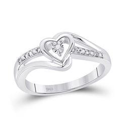 10kt White Gold Round Diamond Heart Promise Bridal Ring .03 Cttw