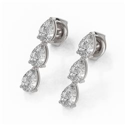 1.62 ctw Pear Cut Diamond Designer Earrings 18K White Gold