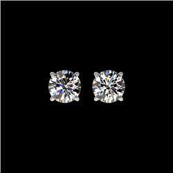 1.11 ctw Certified Quality Diamond Stud Earrings 10K White Gold