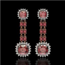 18.38 ctw Tourmaline & Diamond Earrings 14K Rose Gold