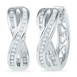 10kt White Gold Round Diamond Two Row Crossover Hoop Earrings 1/4 Cttw