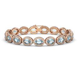 18.38 ctw Aquamarine & Diamond Micro Pave Halo Bracelet 10K Rose Gold