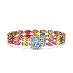 19.77 ctw Sapphire & Diamond Bracelet 14K Rose Gold