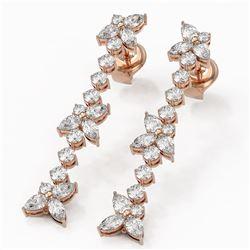 2.81 ctw Mix Cut Diamonds Designer Earrings 18K Rose Gold