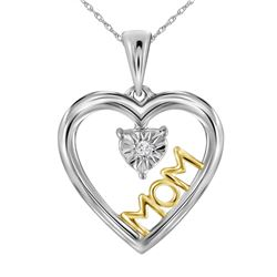 Sterling Silver Round Diamond Moving Twinkle Solitaire Two-tone Mom Heart Pendant .02 Cttw