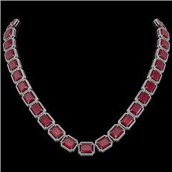 84.94 ctw Ruby & Diamond Micro Pave Halo Necklace 10K White Gold
