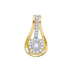 10kt Yellow Gold Round Diamond Flower Cluster Teardrop Pendant 1/8 Cttw