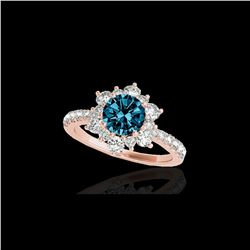 2.19 ctw SI Certified Fancy Blue Diamond Halo Ring 10K Rose Gold