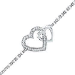 Sterling Silver Round Diamond Double Heart Chain Bracelet 1/10 Cttw