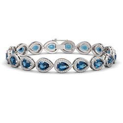 16.59 ctw London Topaz & Diamond Micro Pave Halo Bracelet 10K White Gold