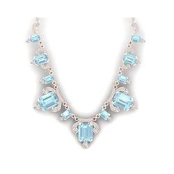 79.56 ctw Sky Topaz & VS Diamond Necklace 18K Rose Gold
