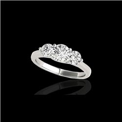 2 ctw Certified Diamond 3 Stone Solitaire Ring 10K White Gold