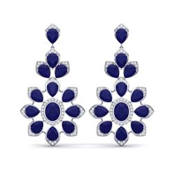 51.8 ctw Sapphire & VS Diamond Earrings 18K White Gold