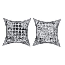 Sterling Silver Round Diamond Square Kite Cluster Screwback Earrings 1/4 Cttw