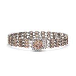 27.48 ctw Morganite & Diamond Bracelet 14K White Gold