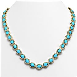 29.73 ctw Turquoise & Diamond Micro Pave Halo Necklace 10K Yellow Gold
