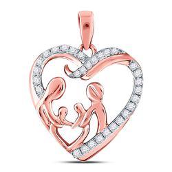10kt Rose Gold Round Diamond Mother Children Family Heart Pendant 1/4 Cttw