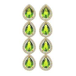 8.4 ctw Peridot & Diamond Micro Pave Halo Earrings 10K Yellow Gold